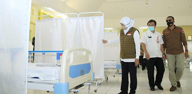 Angka Positif Covid-19 Melonjak, Gubernur Khofifah Minta RS Lapangan Covid-19 Jatim Segera Dibuka