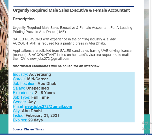Male Sales Executive & Female Accountant , GRAPHICS DESIGNER / SOCIAL MEDIA HANDLER,  Auditor Job Vacancies - Dubai