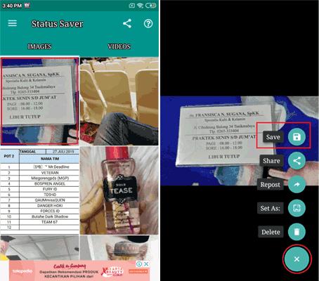 Cara Menyimpan Video Satatus dan Gambar Status Whatsapp Dengan Status Saver