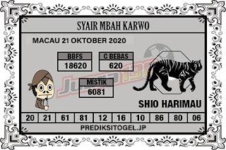 Syair Mbah Karwo Togel Macau Rabu 21 Oktober 2020
