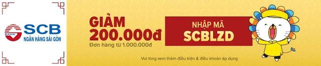 GIẢM 200.000Đ ĐƠN HÀNG TỪ 1.000.000Đ VỚI CHỦ THẺ QUỐC TẾ SAIGON COMMERCIAL BANK