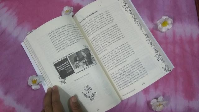 Halaman buku yang dihiasi gambar melati, sebagai analogi perempuan (dok. windhu)
