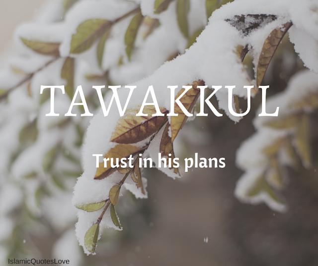 Tawakkul. Trust in his plans.