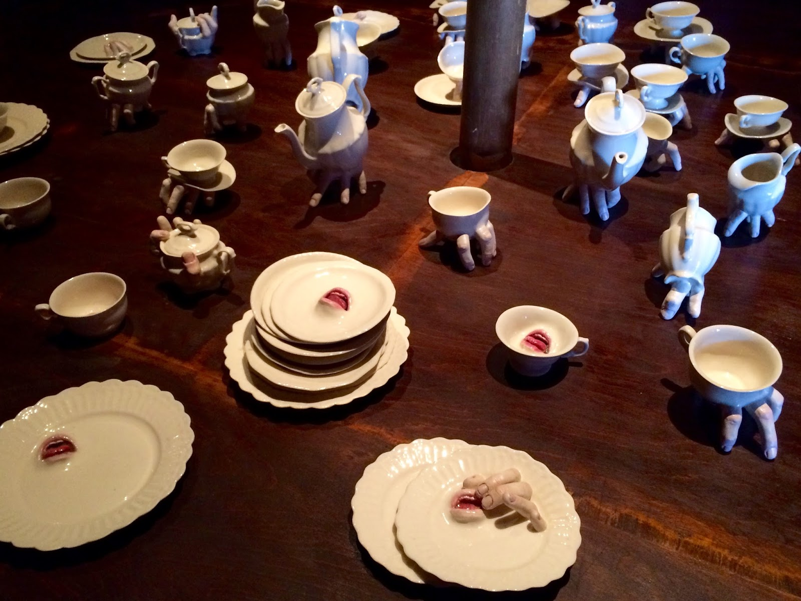 Dismaland installation by Banksy with Crockery