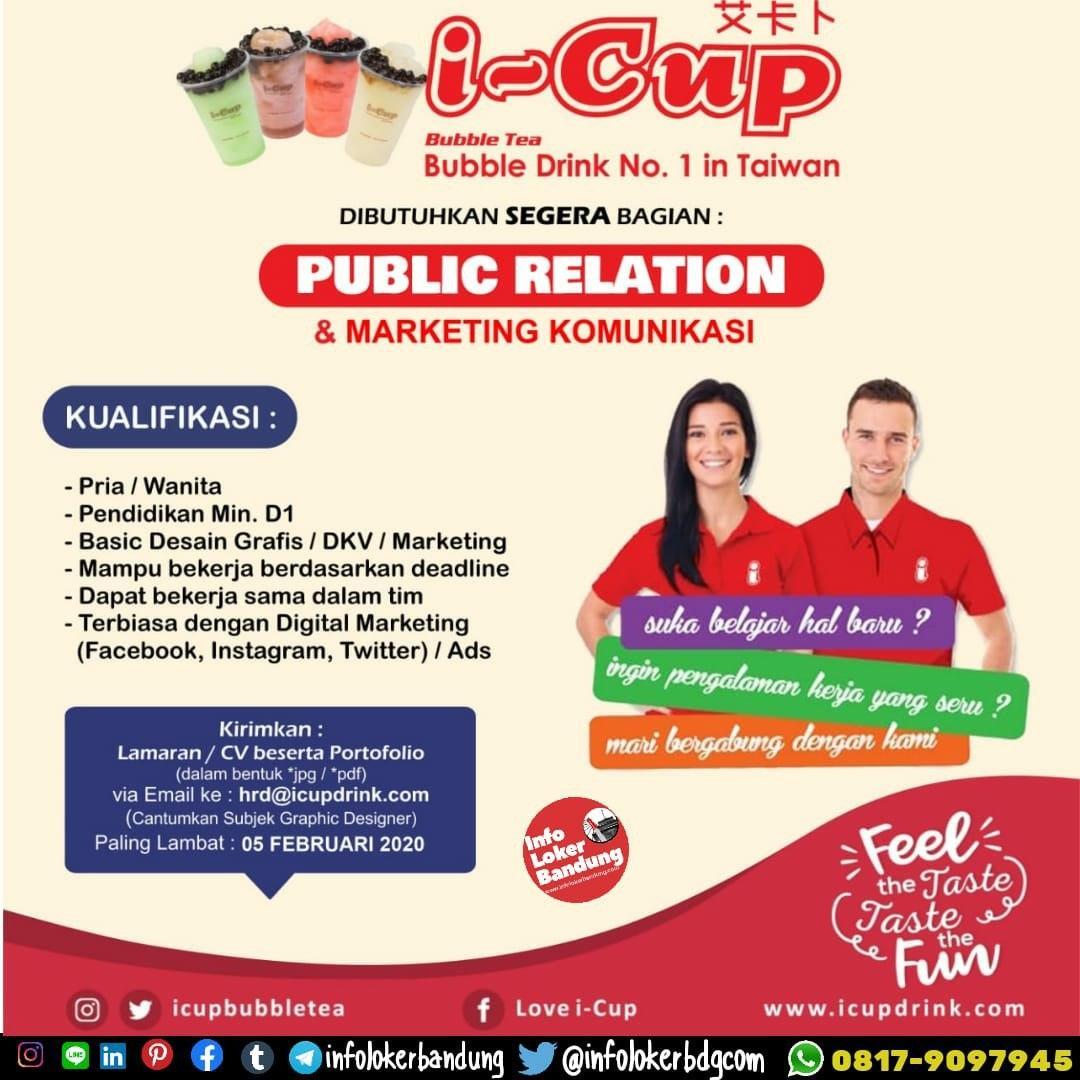 Lowongan Kerja Public Relation I-Cup Bubble Tea Bandung Januari 2020