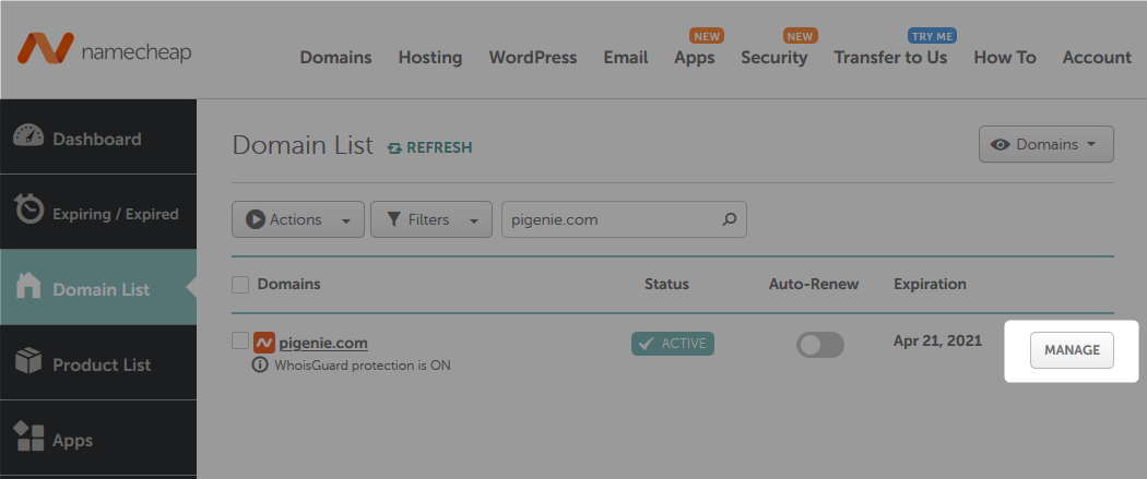 Domain Manage Option in Namecheap