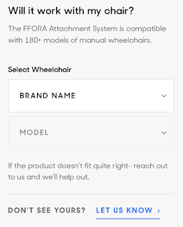 Screen shot of FFORA's website where you can search for you brand and model of wheelchair to see if the attachment system is compatible with your manual wheelchair