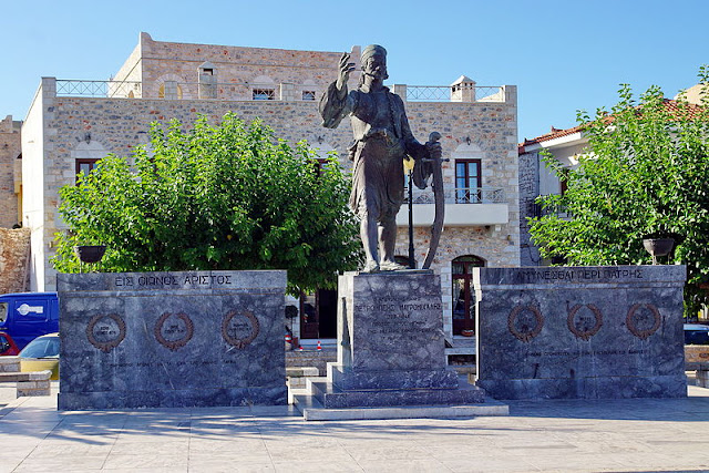 A monument of Petros Mavromichalis in Areopoli - Mani - Peloponnese - photo Bgabel at wikivoyage