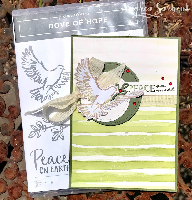 Mossy Meadow Dove of Hope and Wrapped in Christmas Stampin Up card, Andrea Sargent, Independent Stampin' Up! Demonstrator, Valley Inspirations, Adelaide foothills, South Australia