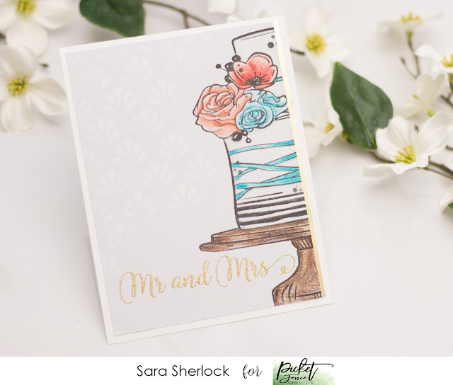 Picket Fence Studios, To the Lovely Couple, wedding card, handmade card, stenciling, inked stencil, coloring, Prismacolor pencils, heat embossing