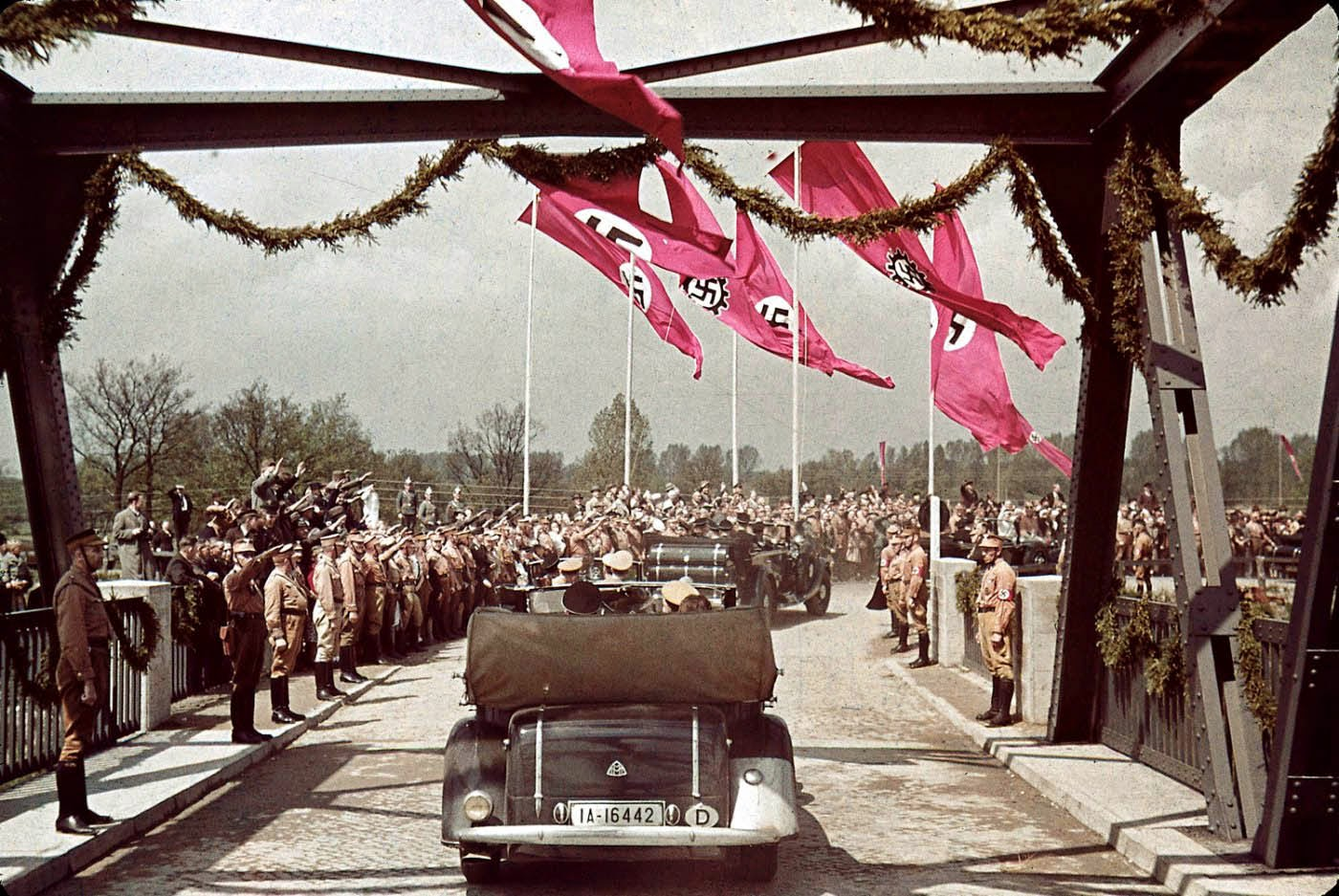 Nazi officials on their way to Fallersleben Volkswagen Works cornerstone ceremony, 1938.