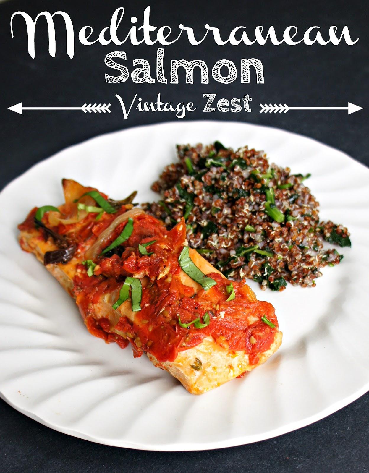 Mediterranean Salmon on Diane's Vintage Zest!  #recipe #quick #easy