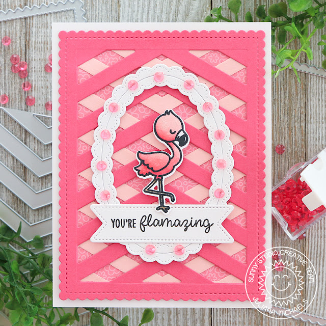 You're Flamazing Card by Juliana Michaels featuring Sunny Studio Stamps Frilly Frame Chevron Die