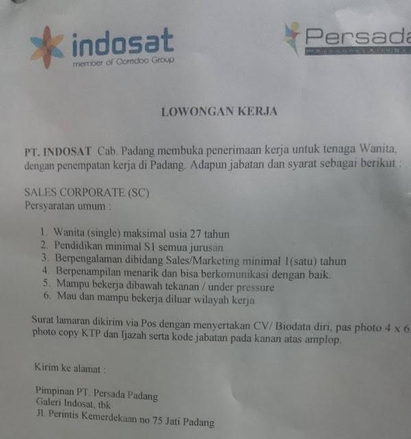Lowongan Kerja PT. Indosat Cabang Padang April 2017