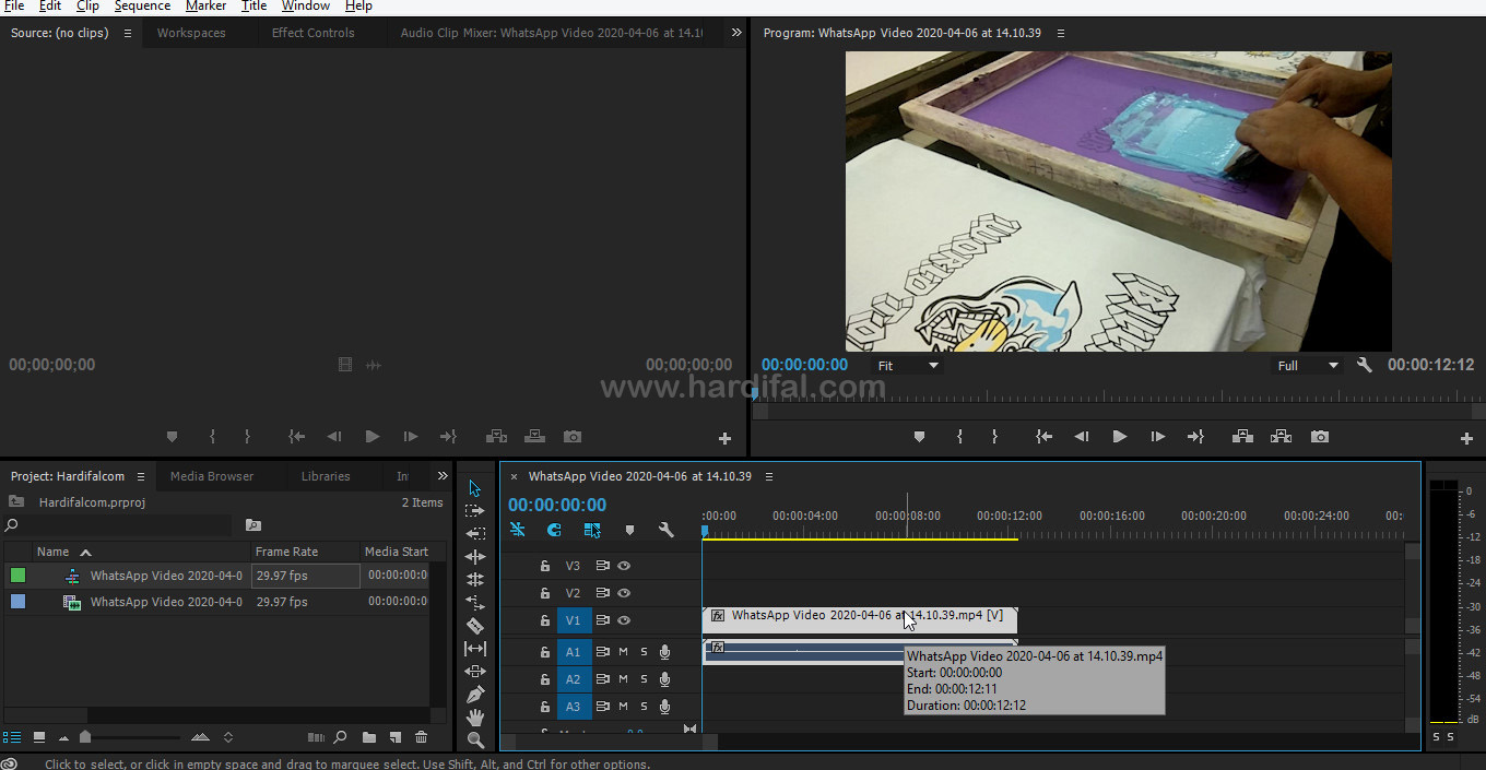 Drag video pada timeline di adobe premiere pro cc