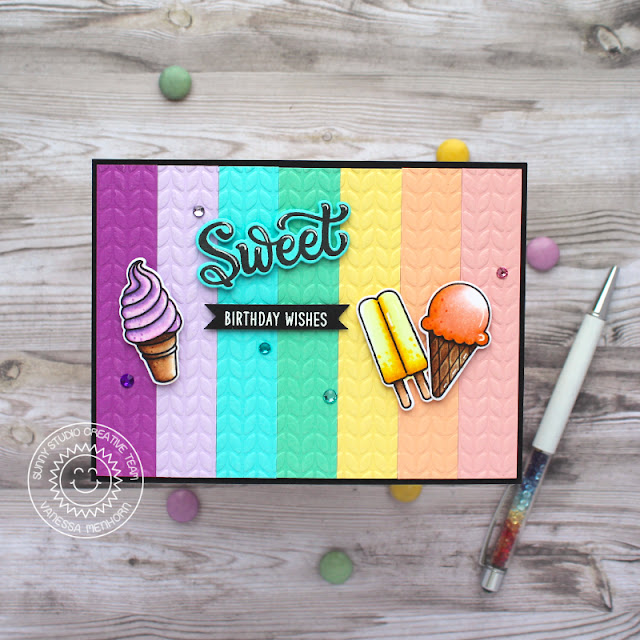 Sunny Studio Stamps: Embossing Folders Candy Shoppe Summer Sweets Card by Vanessa Menhorn
