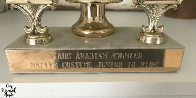 vintage Arabian horse trophy gold plate engraved