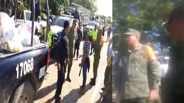 VIDEOS; General militar regaña a Policías Federales que llevaban ayuda para damnificados y pide a los soldados que los detengan y desarmen