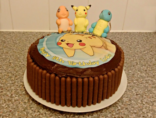 Chocolate Cake with Pokemon Figures