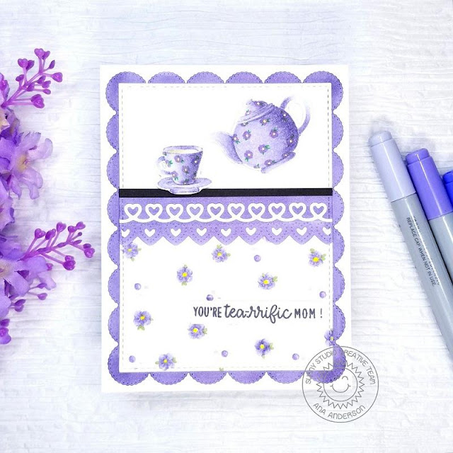 Sunny Studio Stamps: Tea-riffic Background Basics Frilly Frame Dies Heartstring Border Dies Mother's Day Card by Ana Anderson