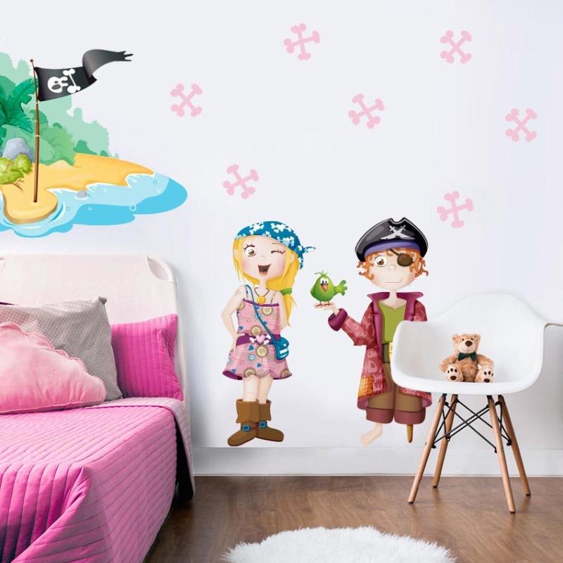 Stickers Pirate île de pirate pour décorer la chambre fille ou garçon