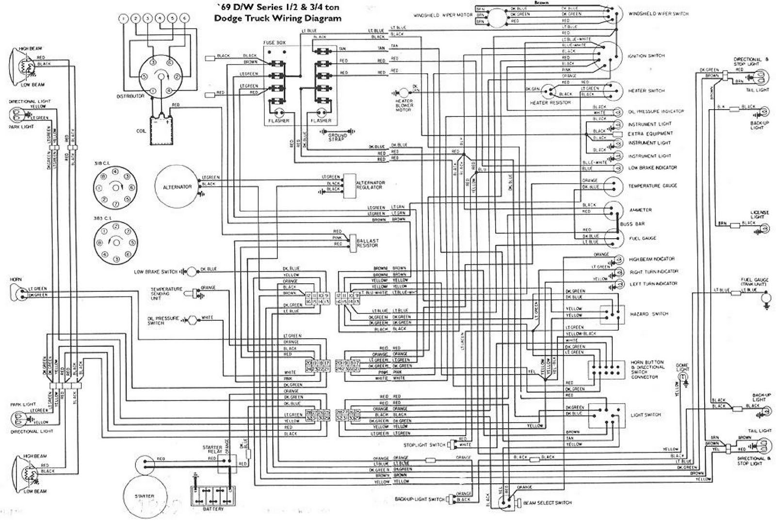 1969's DW Series Dodge Truck Wiring Diagram | Schematic