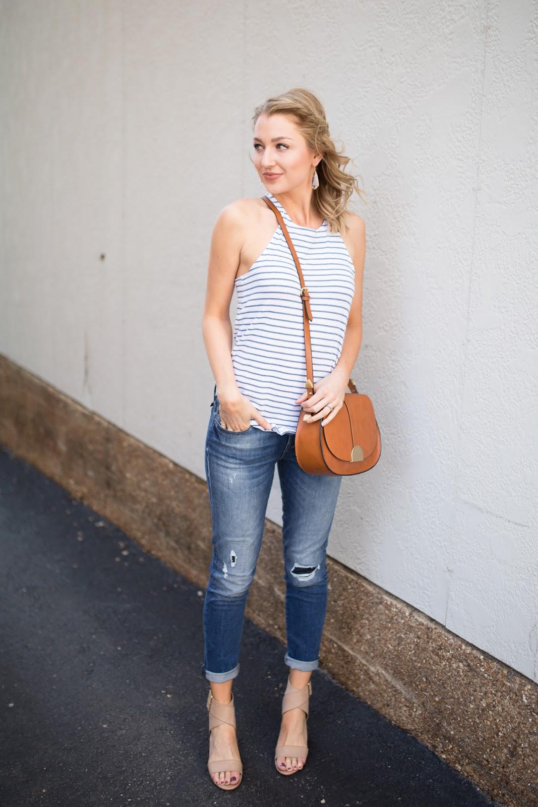 tank top + boyfriend jeans