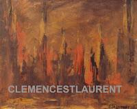 Feu de forêt, années 1960 - thème semi-abstrait par Clémence St-Laurent