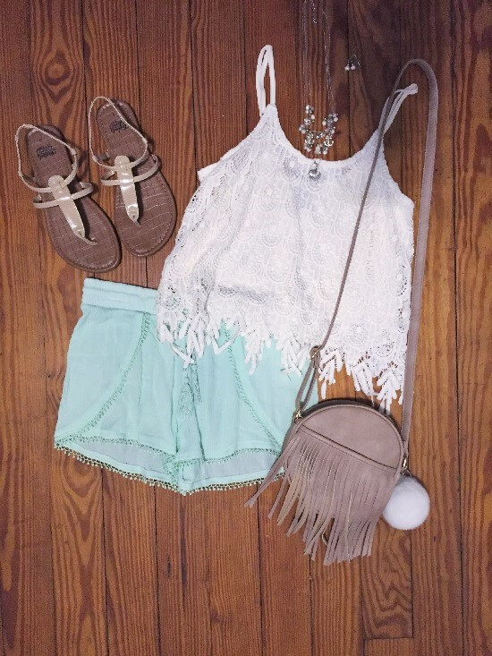 white crochet strappy top outfit of the day