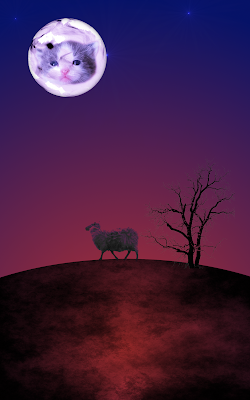 Kitten face in a moon over a dark planet with sheep and tree in silhouette against a red and purple sky