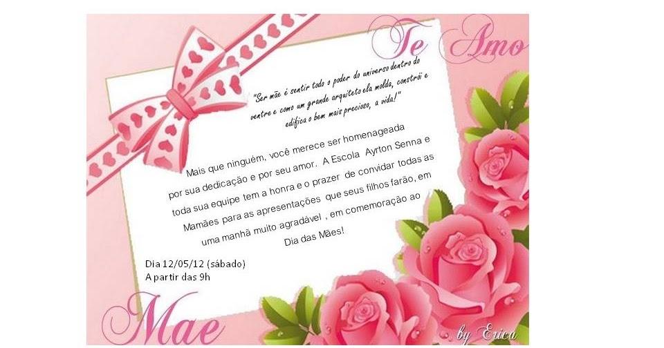 Escola Municipal Ayrton Senna Da Silva Dia Das Mães