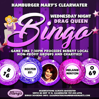 The drag queen bingo advertisement for Hamburger Mary's in Clearwater, Florida