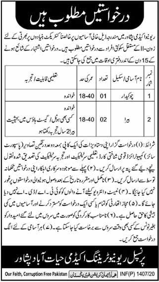 Jobs in Peshawar for Chowkidar and Bera 2020
