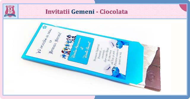 invitatii botez fara foto gemeni Cutie de ciocolata