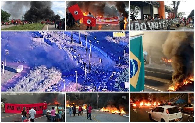 """Os atos começaram simultaneamente por volta das 6h30 da manhã. No entanto, às 7h30 a Rodovia Hélio Schmidt e a Marginal Pinheiros, na região do Morumbi, permaneciam parcialmente ocupadas por manifestantes. O coordenador da Central de Movimentos Populares (CMP), Raimundo Bonfim, contestou a argumentação usada para o processo de destituição de Dilma. """"Eles podem dizer que é uma violência fechar uma avenida como a 23 de Maio e outros pontos na cidade de São Paulo. Mas não é uma violência em comparação com o que eles estão fazendo com a Constituição brasileira. Está tendo um processo de impeachment que não tem embasamento jurídico, essa é a maior violência"""", ressaltou em entrevista logo após o fim do bloqueio próximo ao Terminal Bandeira."""