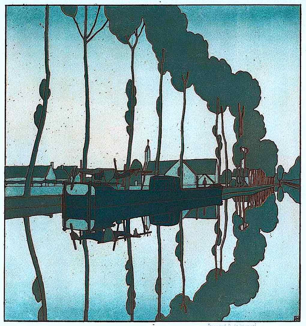 a Bernard Boutet de Monvel illustration of a calm canal