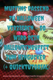 halloweenmäßig-verzierte-Muffins-mit-Blogtitel:Muffins-zu-Halloween-verzieren-So-wird-Dein-Halloweenbuffet-zum-Hingucker(+Quicktutorial)
