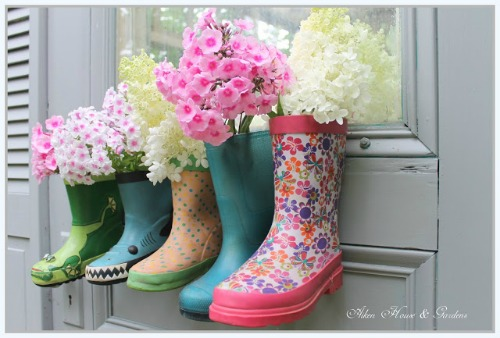 Rubber Boots Flower Display from Aiken House & Garden