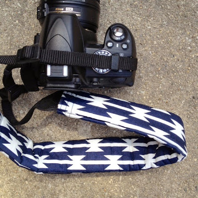 DIY Camera Strap Cover made with April Rhodes' Arizona Tomahawk Stripe