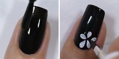 primeiro passo decoração de unhas com flores