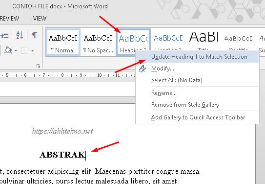 Cara membuat daftar isi otomatis pada Microsof Word - Mengatur heading 1 untuk judul bab, update heading 1 to match selection