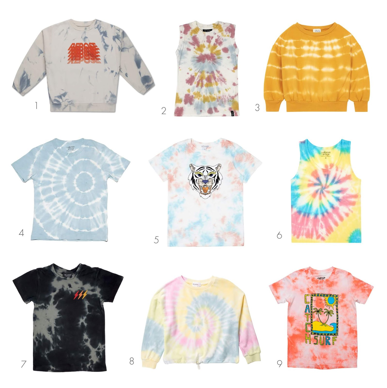 collection of nine trendy and fashionable tie dye shirts for kids