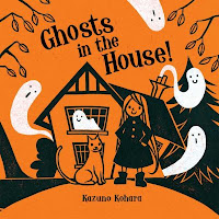 Ghosts in the House book cover with girl, cat, and ghosts in front of house