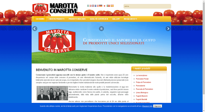Picture to Italian food exporter company named Marotta Conserve