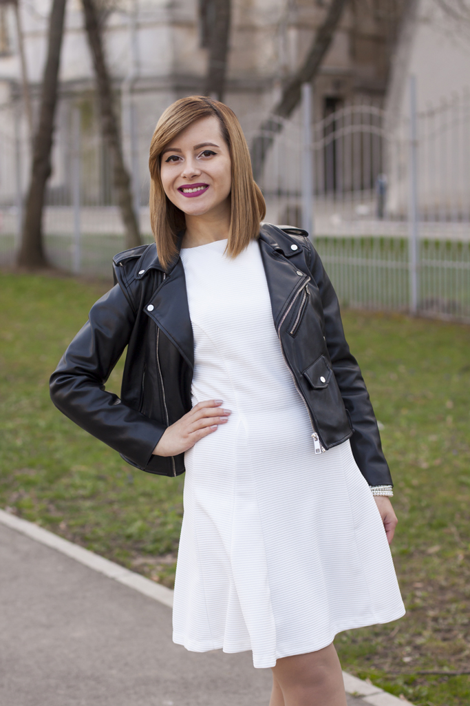 spring look with a black leather jacket