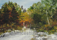 Hike in a Fall Forest, 5 x 7 oil painting by Clemence St. Laurent