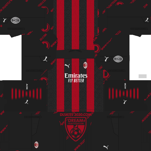 AC Milan Kits 2020-2021 Puma For Dream League Soccer 2019 (Home)