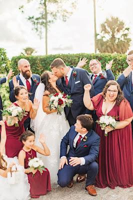 cheering bridal party