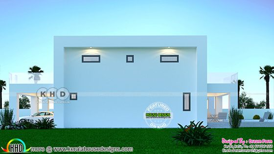 Back elevation rendering of the Flat roof contemporary house