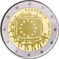 slovenia 2 euroa kolikko eu lippu 30 vuotta 2015